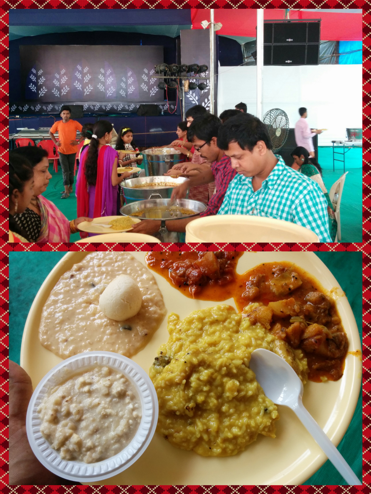 Bhog queue and the Bhog plate consisting of Khichuri, Chutney, Subzi and Payesh with a Rossogolla