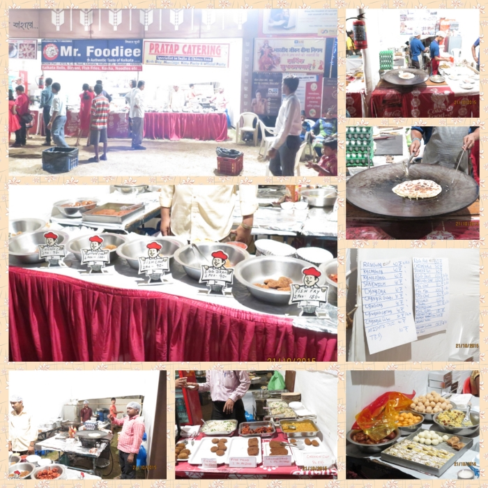 food counters serving rolls, chops, sweets and other bengali delicacies and not to forget the chowmein