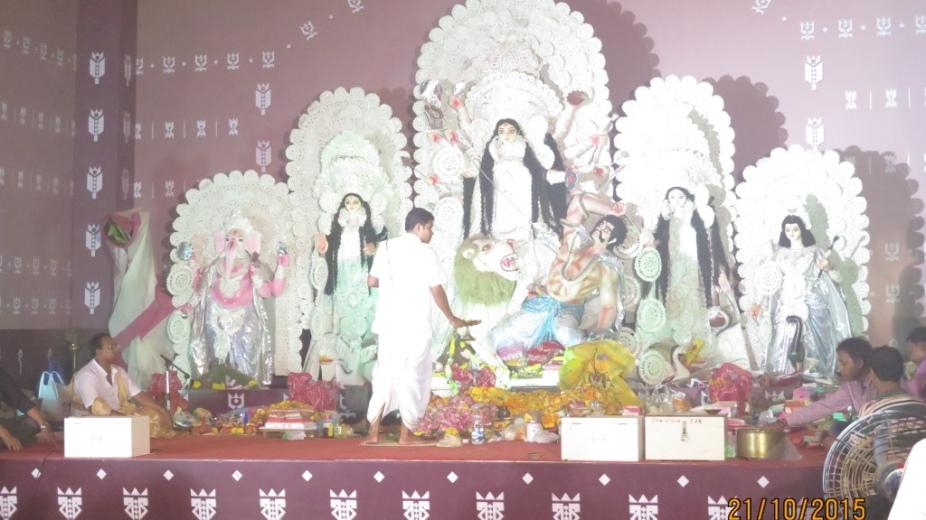 Durga puja pandal with Durga, Kartikeya, Lakshmi, Ganesh and Saraswati