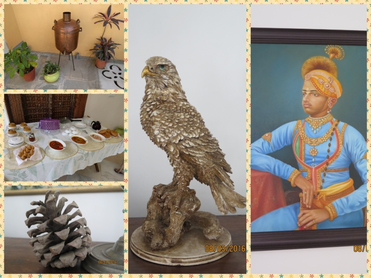 The royalty, a Stuffed Owl, Water boiler and hot snacks