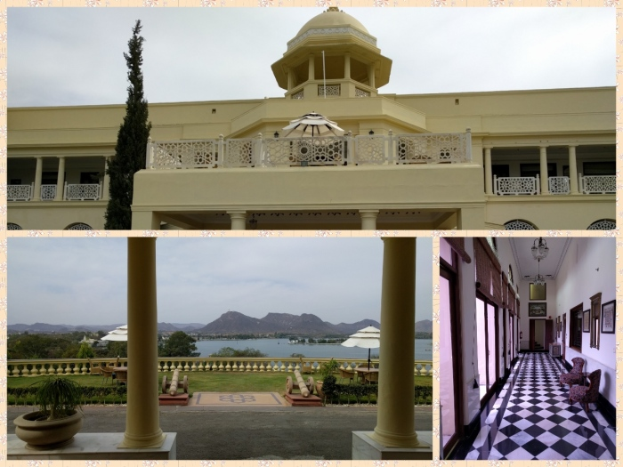 Laxmi Vilas palace exteriors, views of the lake and mosaic corridors