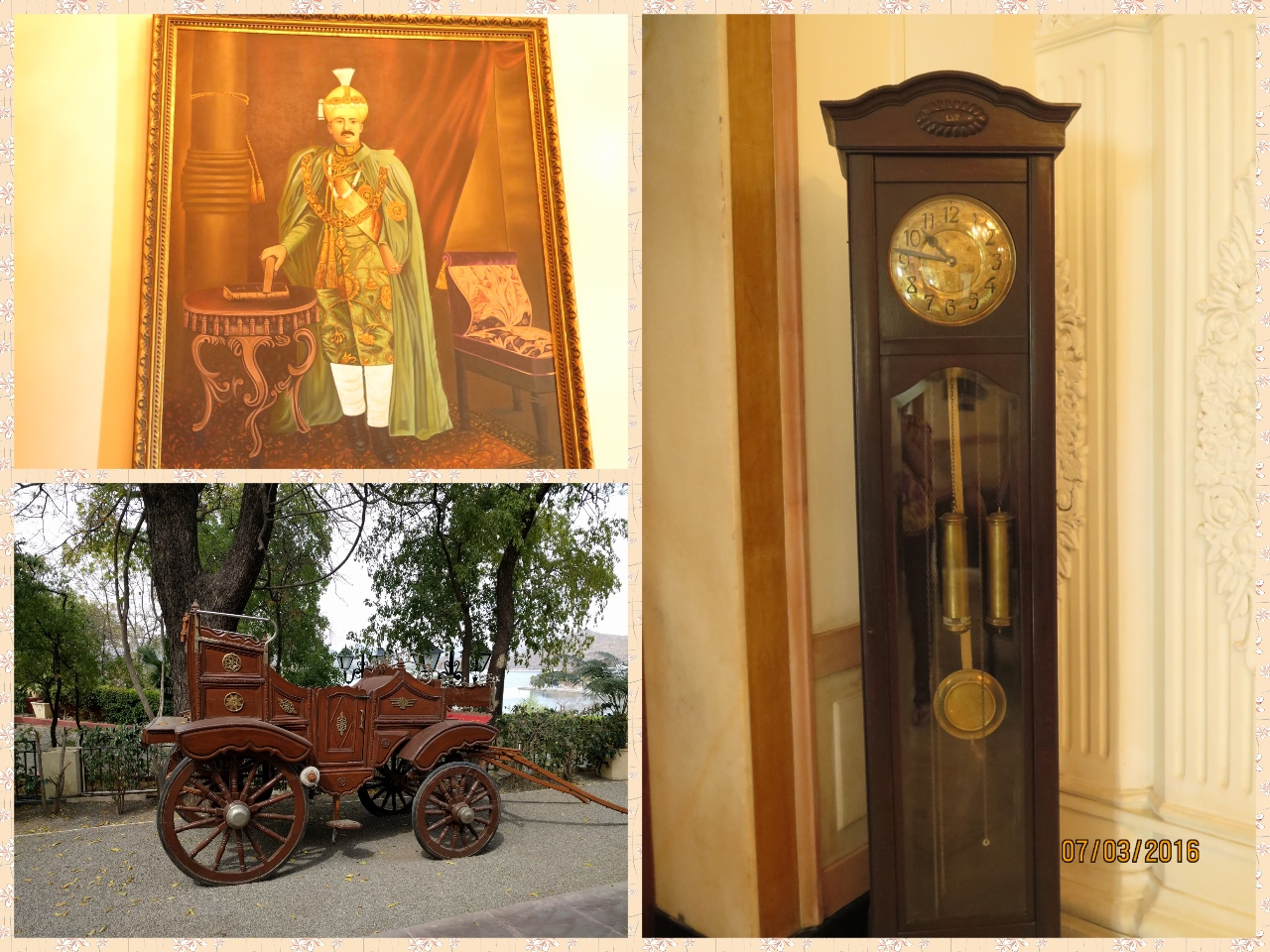 Maharaja's Painting, an antique clock and a Royal Carriage