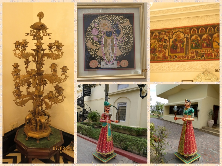 Shrinathji, Candle stand, Wooden Dolls made from Doodhia and cloth paintings on the wall