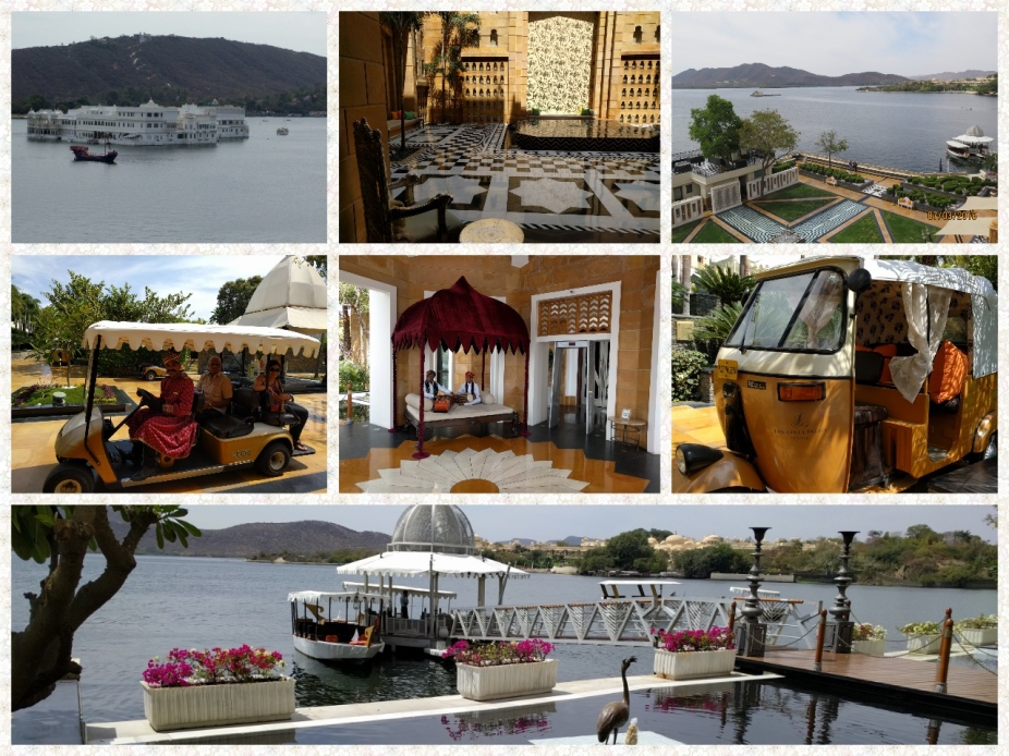 Boat Jetty at Leela Palace, Lake Nichola Vies, Lobby with Musicians, Buggy for transport