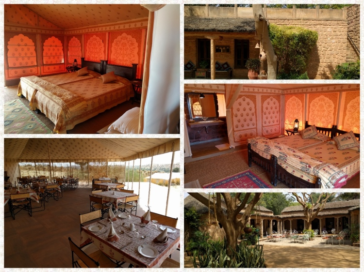 Deluxe and super delux tent rooms, courtyard, dining area and the perimeter