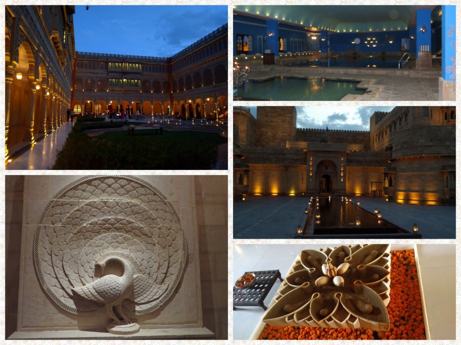 Twilight courtyard, entrance to the inner sections, swimming pool and welcome art