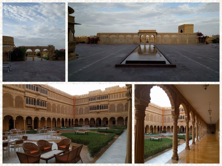 The Suryagarh palace and the courtyard