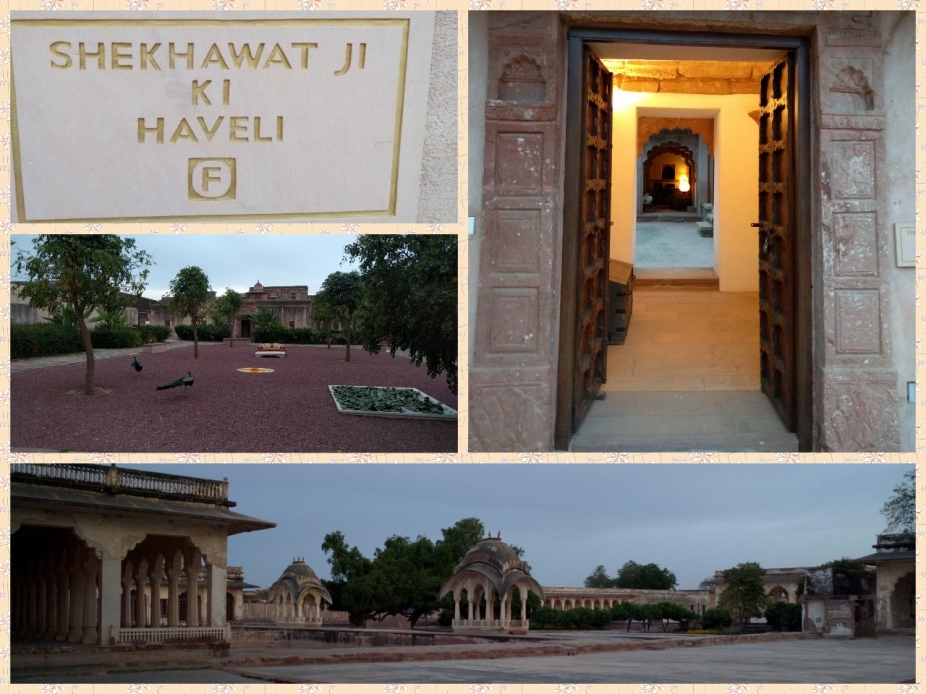 Entrance to the Haveli, Peacocks in the garden, Open courtyard