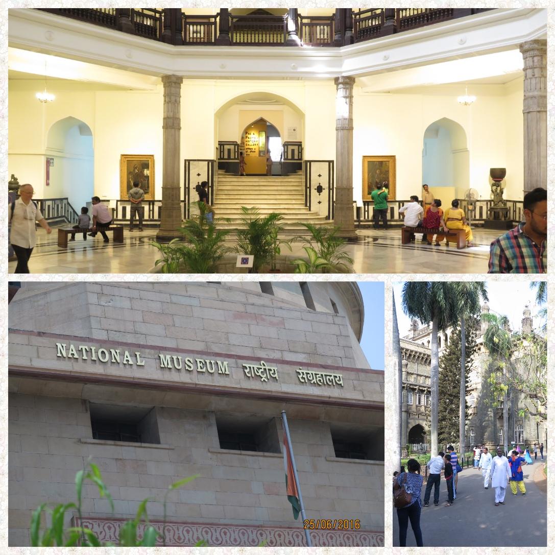 Clockwise from top Foyer of Mumbai museum, walkway to the Mumbai Museum and the Delhi National Museum
