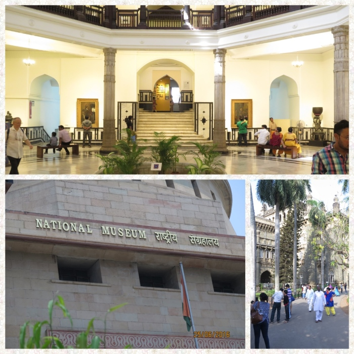 Clockwise from top Foyer of Mumbai museum, walkway to the Mumbai Museum and the Delhi National Museum