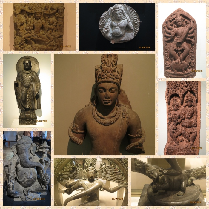The Stone and Bronze sculpture sections in both the Museums across various epochs. Vishnu, Ganesh, Kuber, Durga and Buddha are common themes