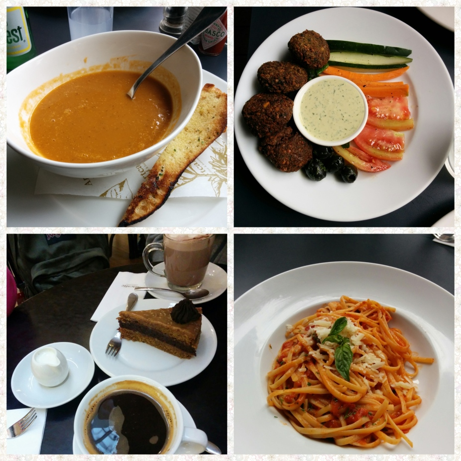 Soup, Falafel, Pasta and Cake n Coffee