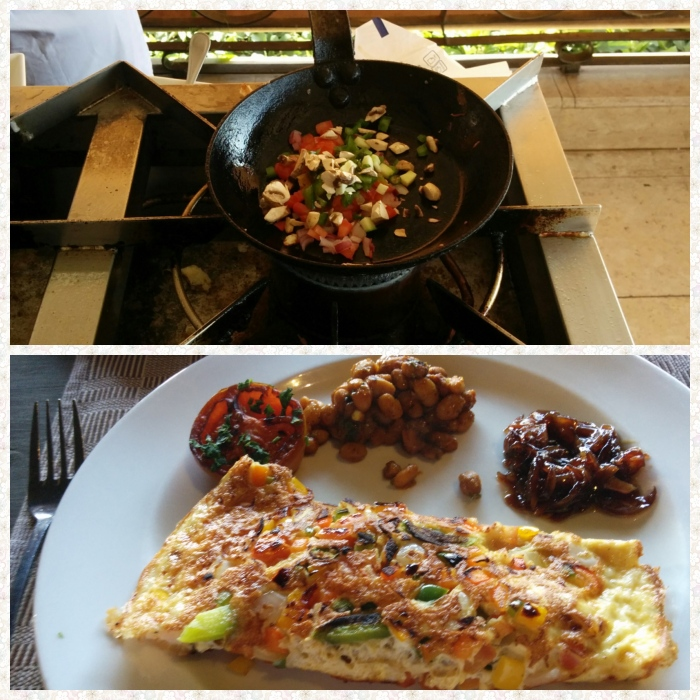 Omelette preparation and a finished omelette