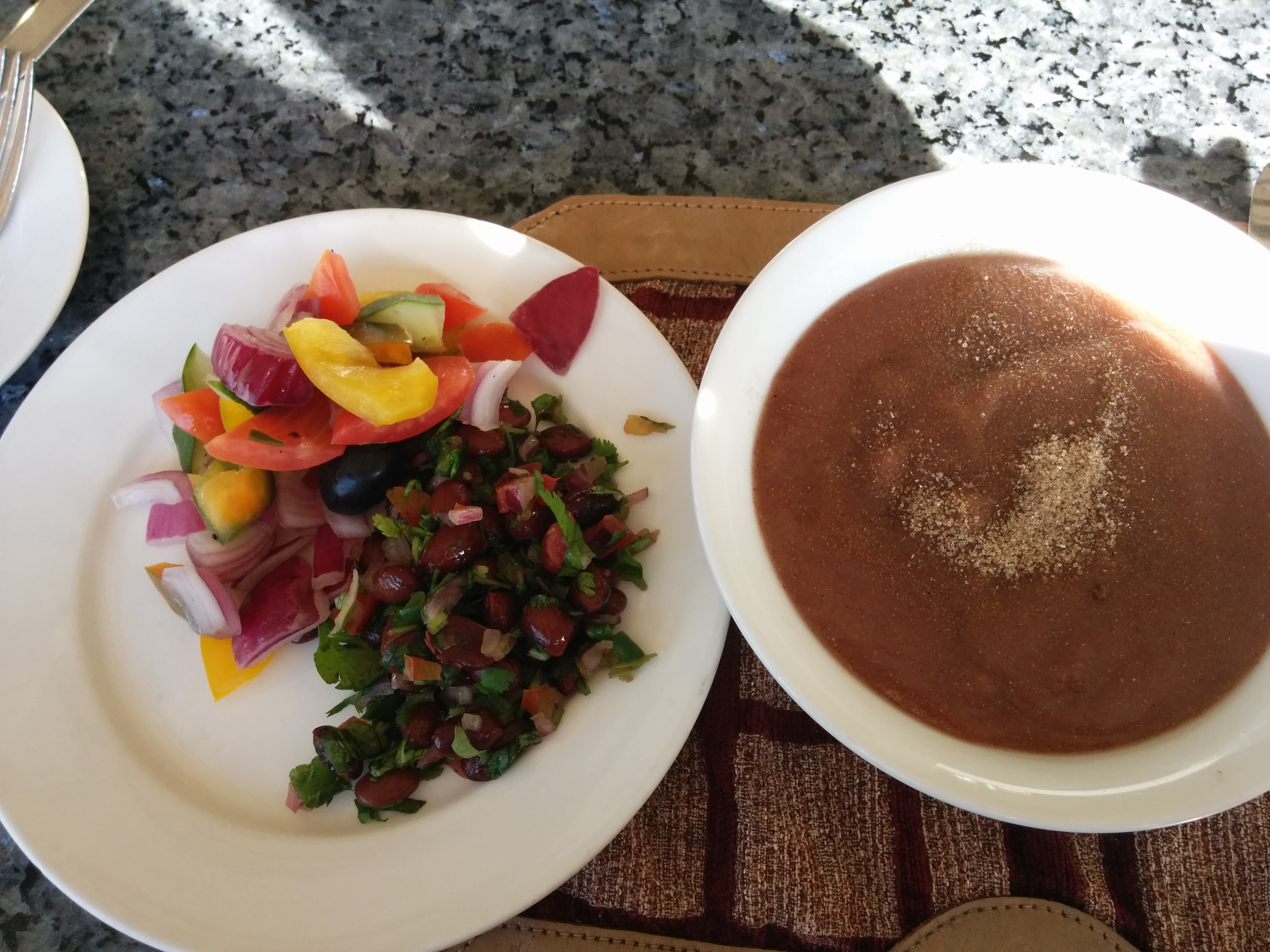 Ragi porridge with BrownSugar and a Kidney Bean salad with Vegetables