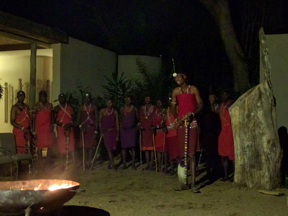 The Masaai tribe cultural session on a cold evening at Kichwa Tembo, Masai Mara