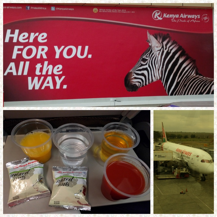 Kenya airways Banner, Kenya airways flight and the drinks and nibbles on flight