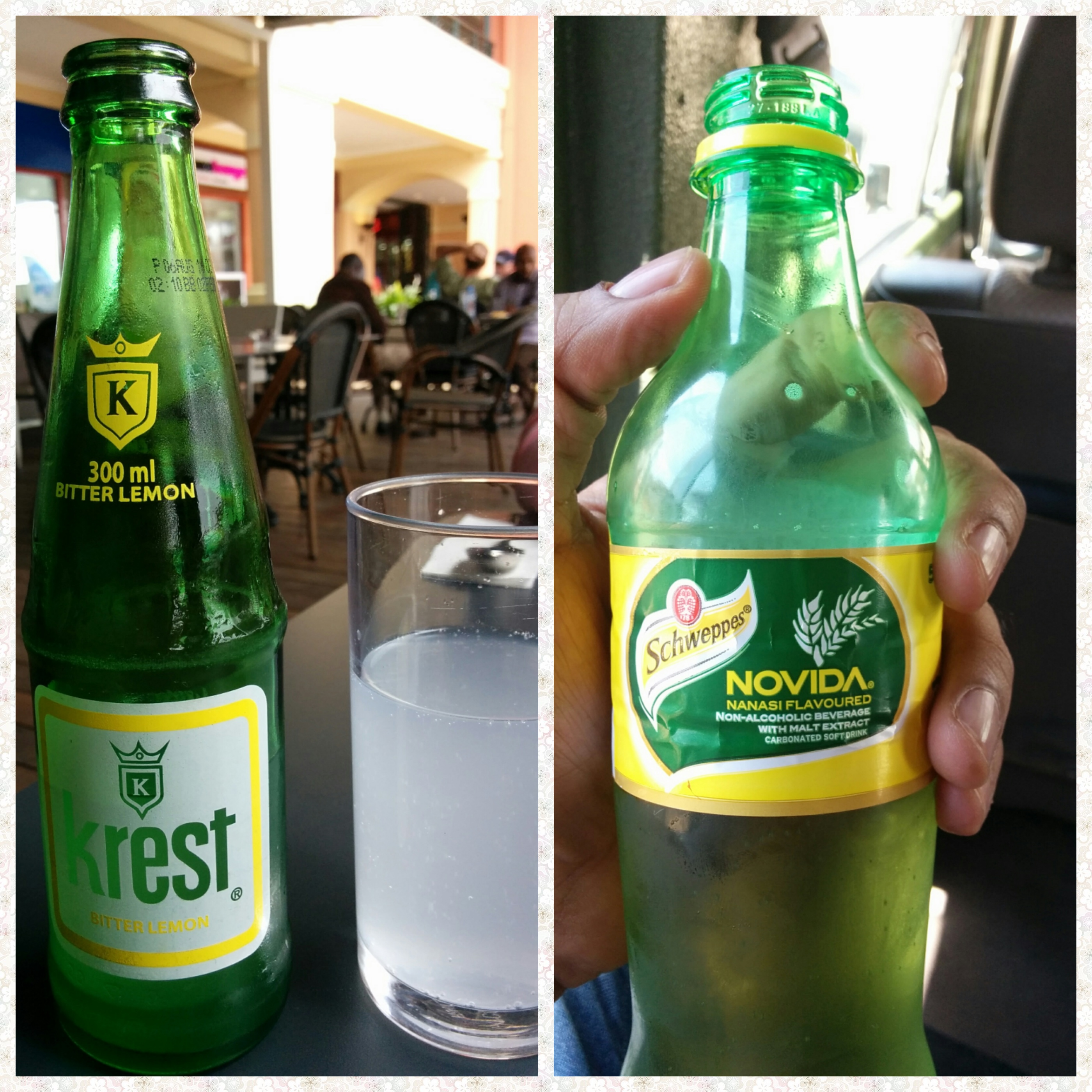 A bottle of Krest Bitter lemon and a bottle of Schweppes pineapple drink