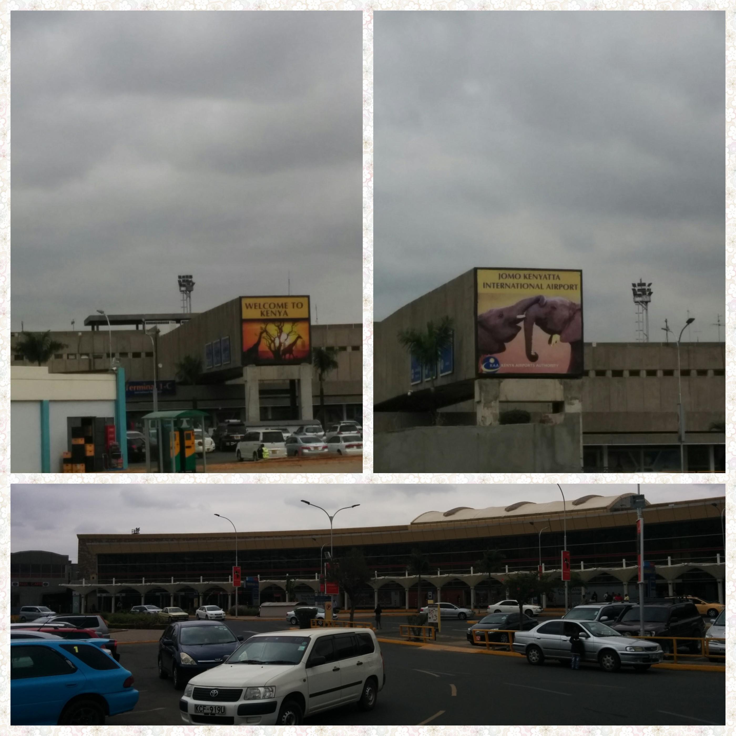 Joao Kenyatta International airport welcome sign and airport premises