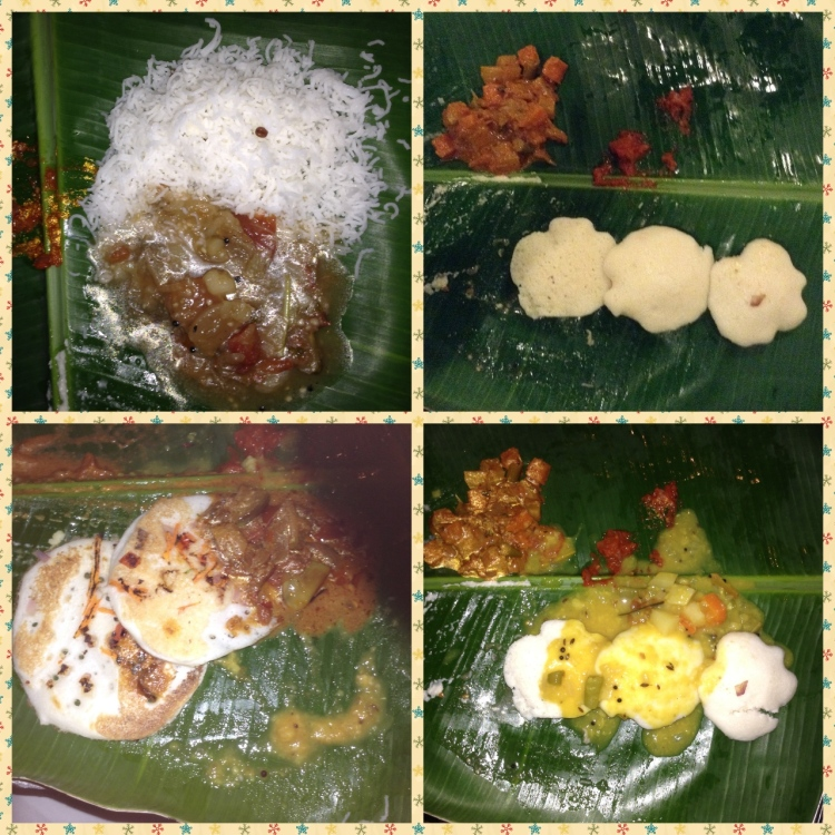 Main course - rice string hoppers, idlies, Dosa with a variety of sides