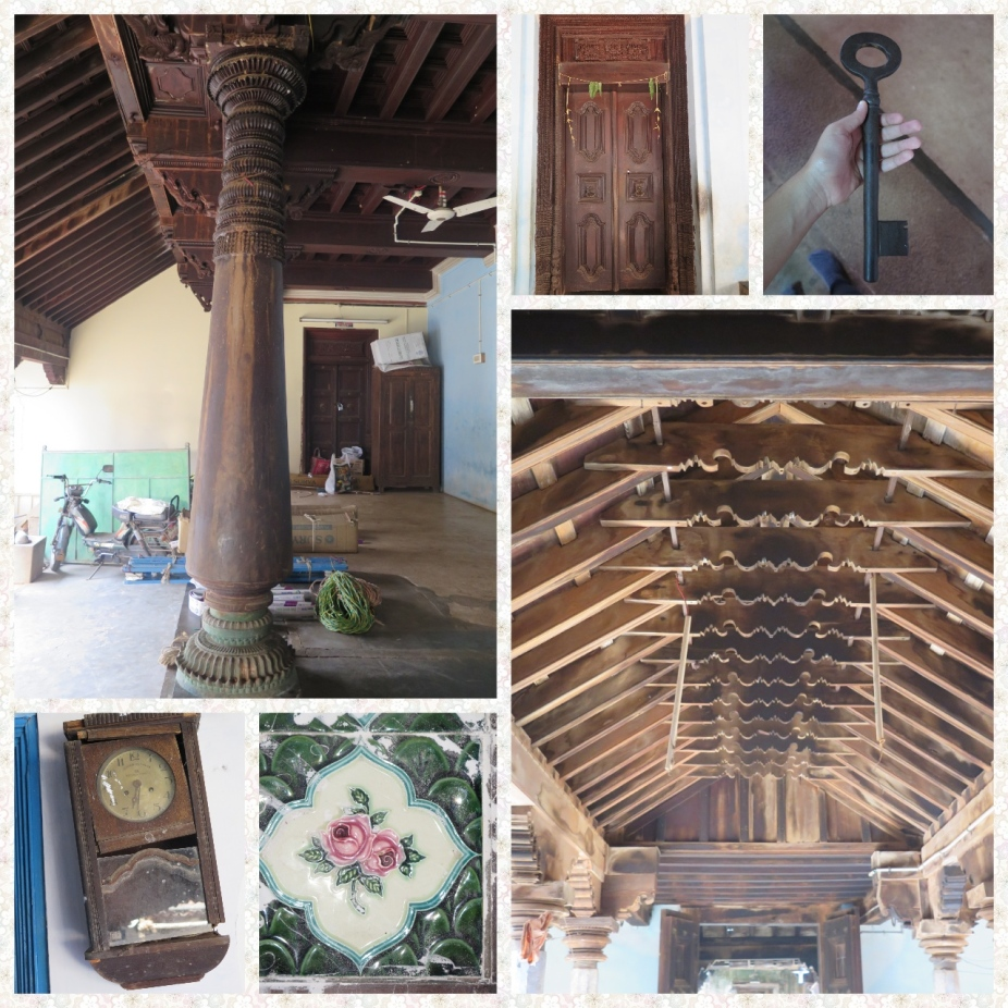 "A traditional Chettinad Home as it is. Pillars or ""Thoons"", Teak wood doors and Ceilings, Athangudi tiles and Heavy Doors"