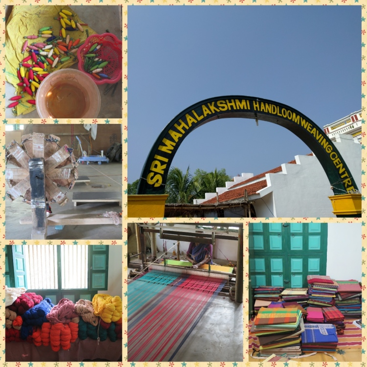 The Handloom Weaving center, Raw materials like colored threads, Hand weaving instruments like Charkha and loom and finished products
