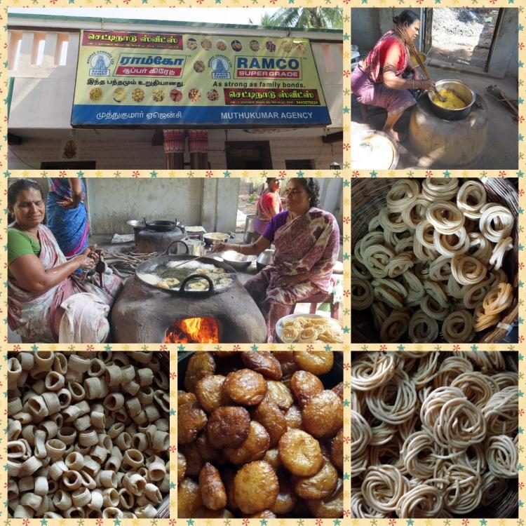 Women working the Bakshanam in a hot cauldron of coconut oil, finished Bakshanam