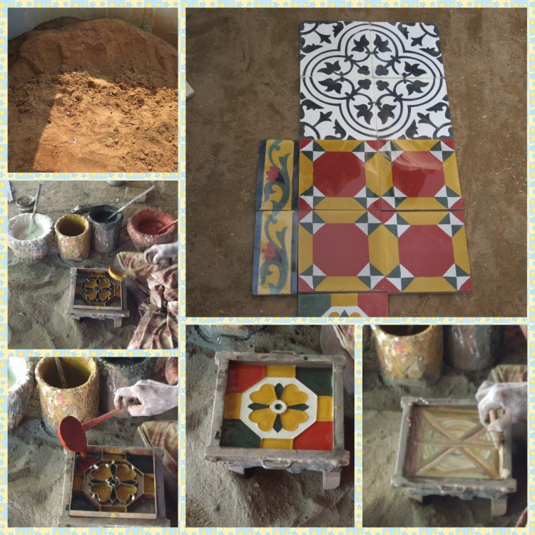 Athangudi tile making workshop, Mud, coloring process, tile making and finished product