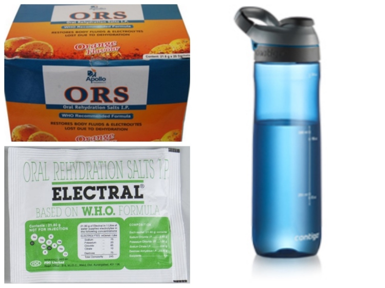 Water bottle, ORS and Electral