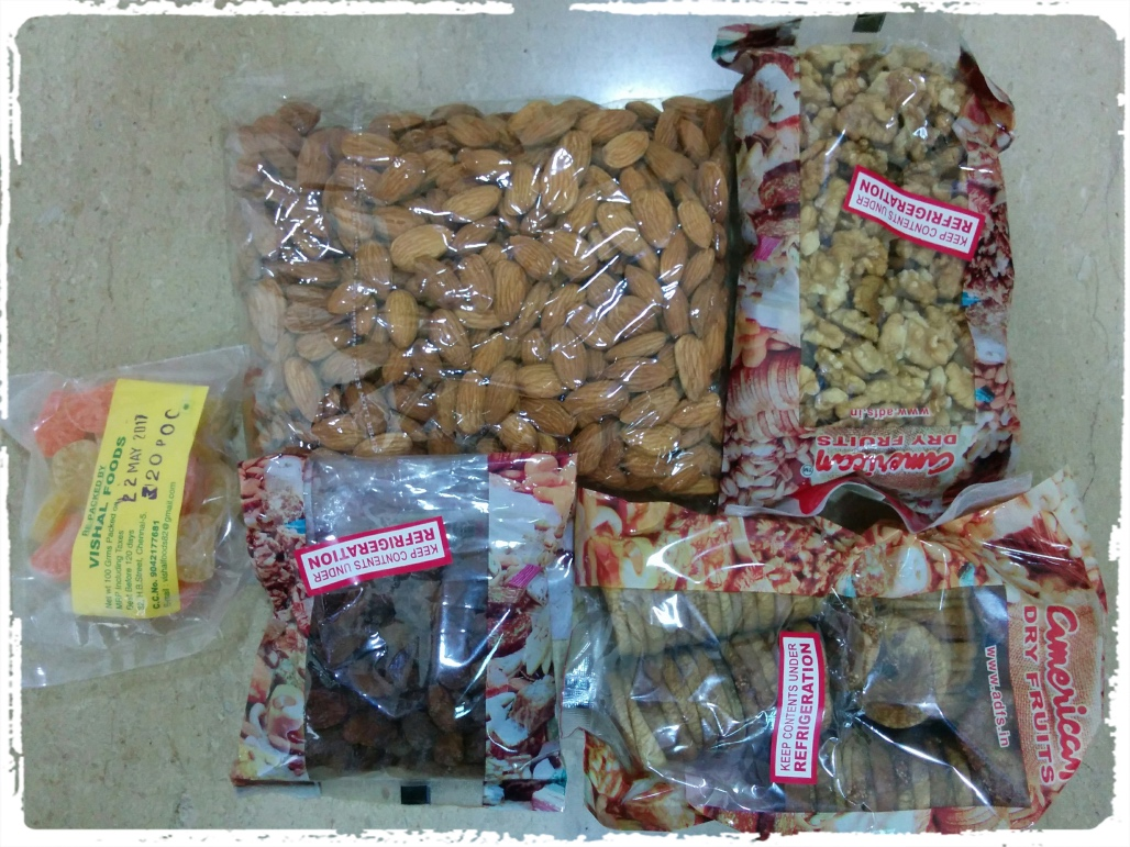 Dry fruits and sugary sweets