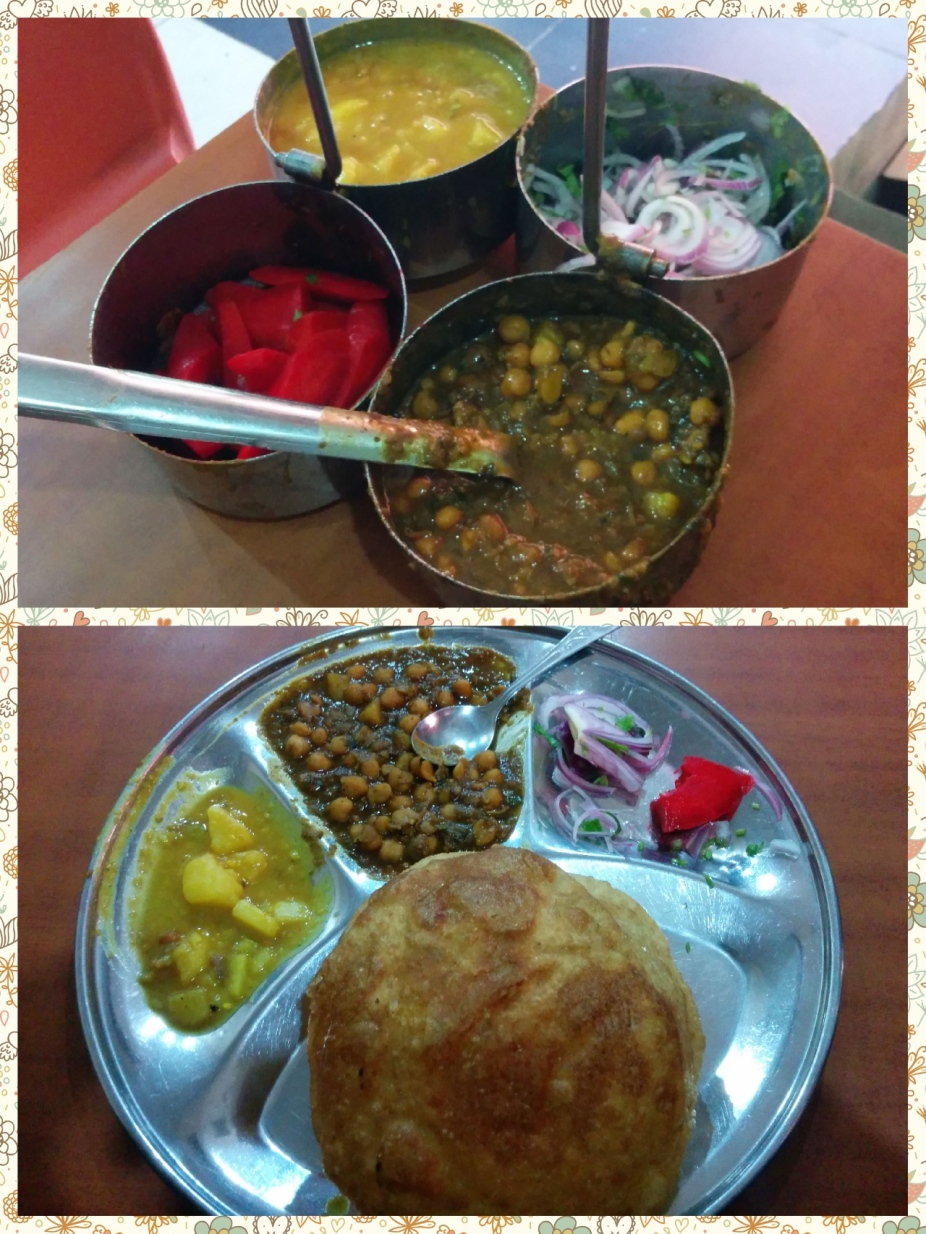Unlimited Chhole, Alu Launji, Onions and a sweet n Sour pickle