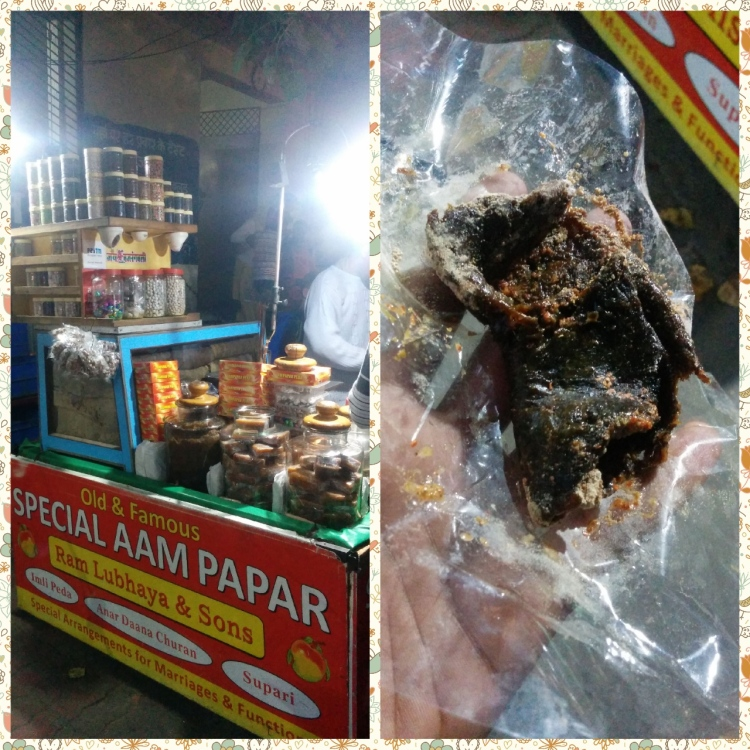 The Roadside Aam Papar Shop outside DAV college, a take away sour Aam papar with spice powders and a Dash of Lime