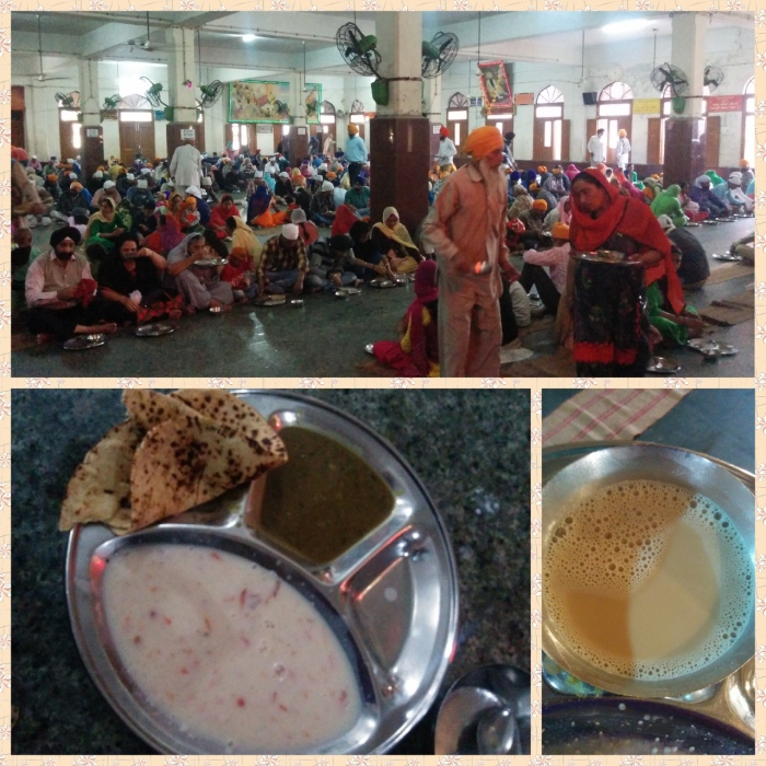 Community dining hall, meal of roti, dhal and kheer followed by a glass of tea