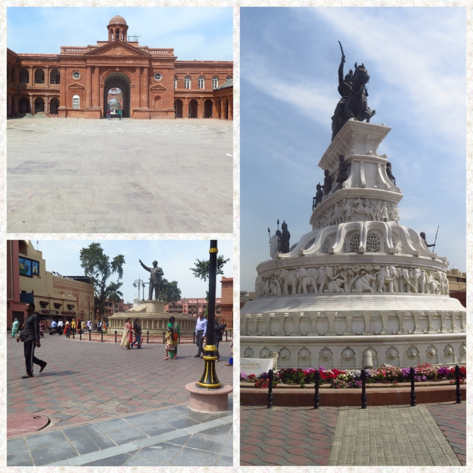 Town Hall Red sandstone building, replica of parliament building of India, bust of Dr Ambedkar and Maharaja Ranjit Singh ji statue