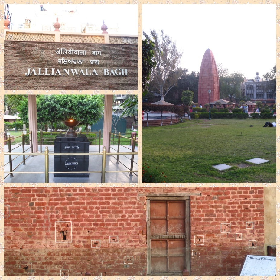 Images from Jallianwala bagh of the eternal flame, memorial monument and a bullet ridden brick wall