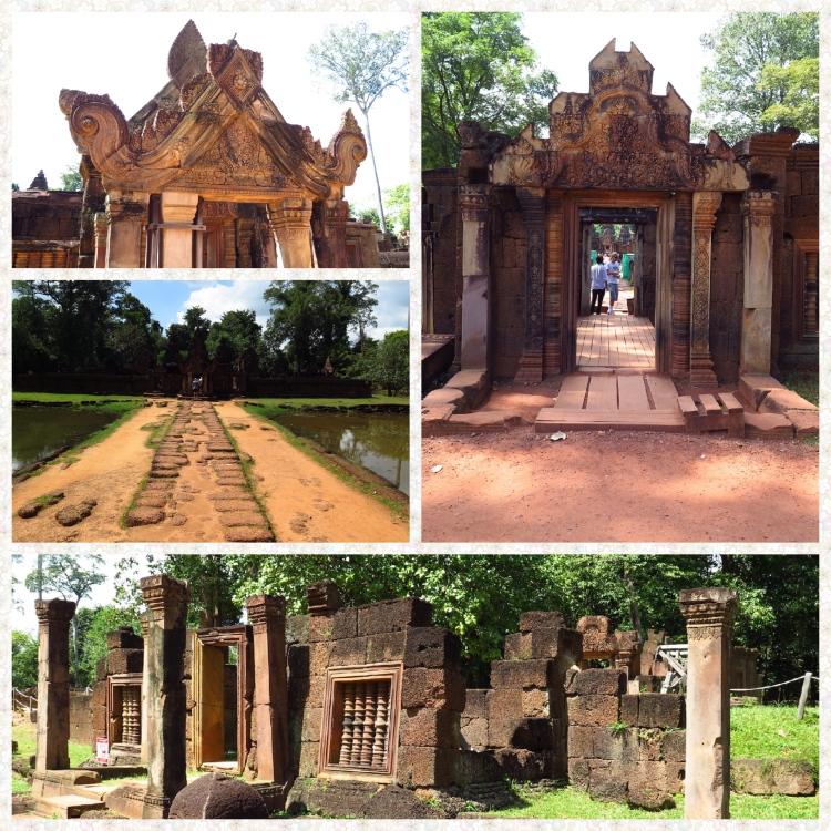 Banteay Srei entrance, Walkway, moat and sandstone ruins