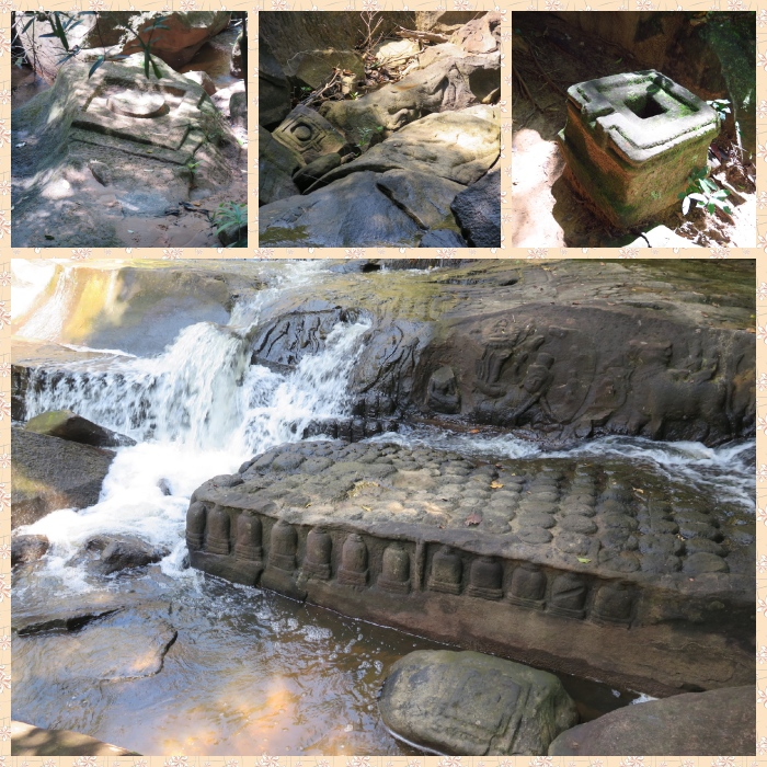 4 images of lingams and snanadronis at various places on the river bed