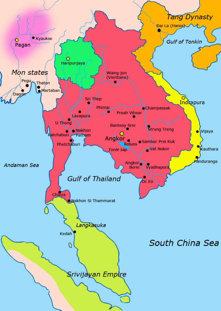 Map of SOuth east Asia 900 CE showing various kingdoms