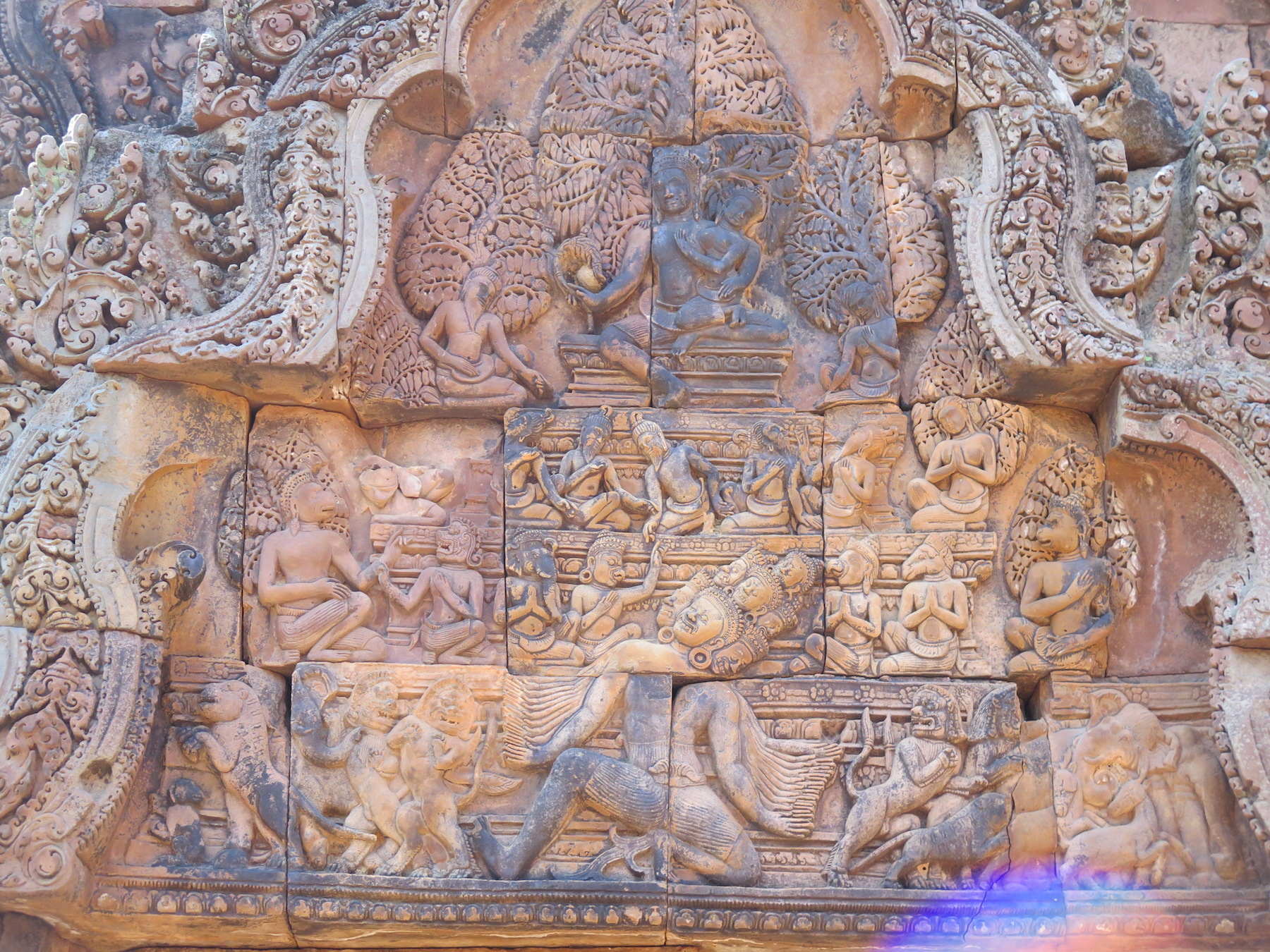 Ravana shaking Mount Kailash where Lord Siva and Parvati are seated