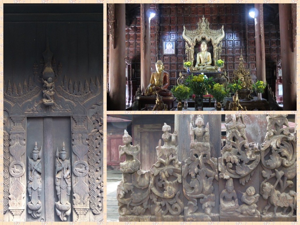 The main shrine is in the auspicious East-West direction. Large parts of the monastery are served by ample natural light and excellent cross ventilation. Figurines representing door keepers to the shrine can be seen along with frescos which detail Buddha's life.