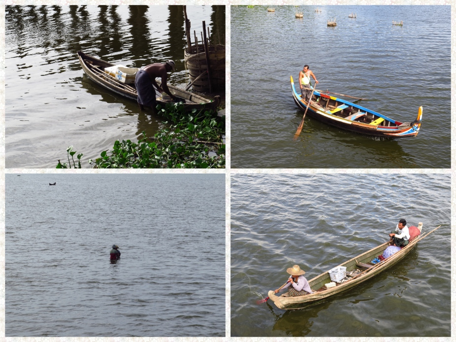 Fishing is the most lucrative occupation for residents living on the periphery of Lake Taungthaman. Solo fishing, Family Fishing, and Sitting on tubes for small catch.