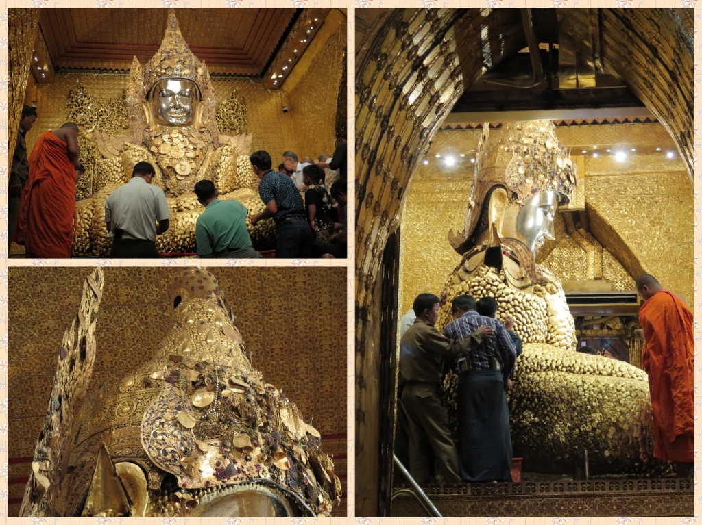 The Myanmarese place their faith in the living entity that is the Mahamuni. The crown is adorned with precious stones etched in gold. Rest of the Mahamuni's structure is enriched with Gold Leaves