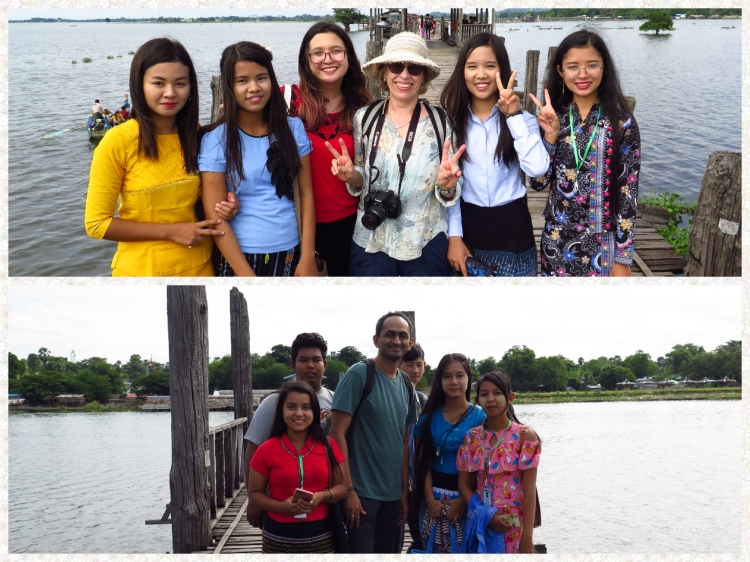 Students dominate the bridge and they dont miss an opportunity click a snap with tourists. They are friendly and look colorful in their local dress. The Men wear a Longyi and a Taipon for a vest where as the ladies wear a Thummy. The Thummy fabrics vary with various regions of Myanmar. Flip Flops are the most common footwear.