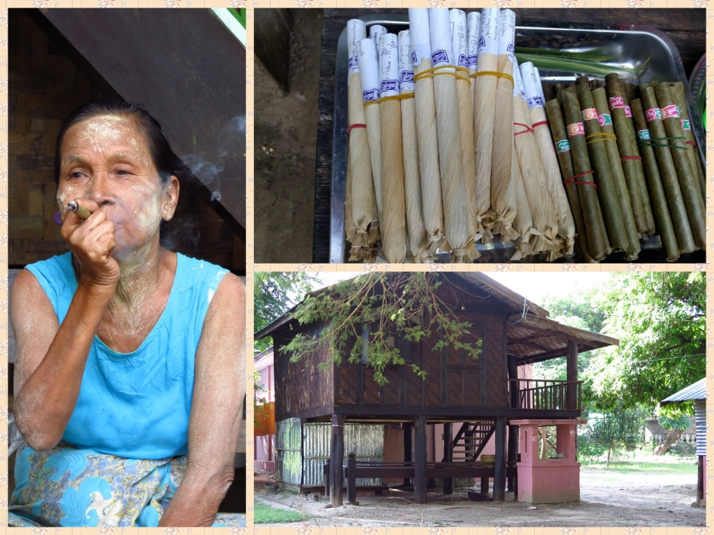 The lady had Tanaka paste all over her and was probably enjoying her post lunch Cheroot. She was also hawking them. Houses are built on stilts probably to escape from flooding and reptiles.
