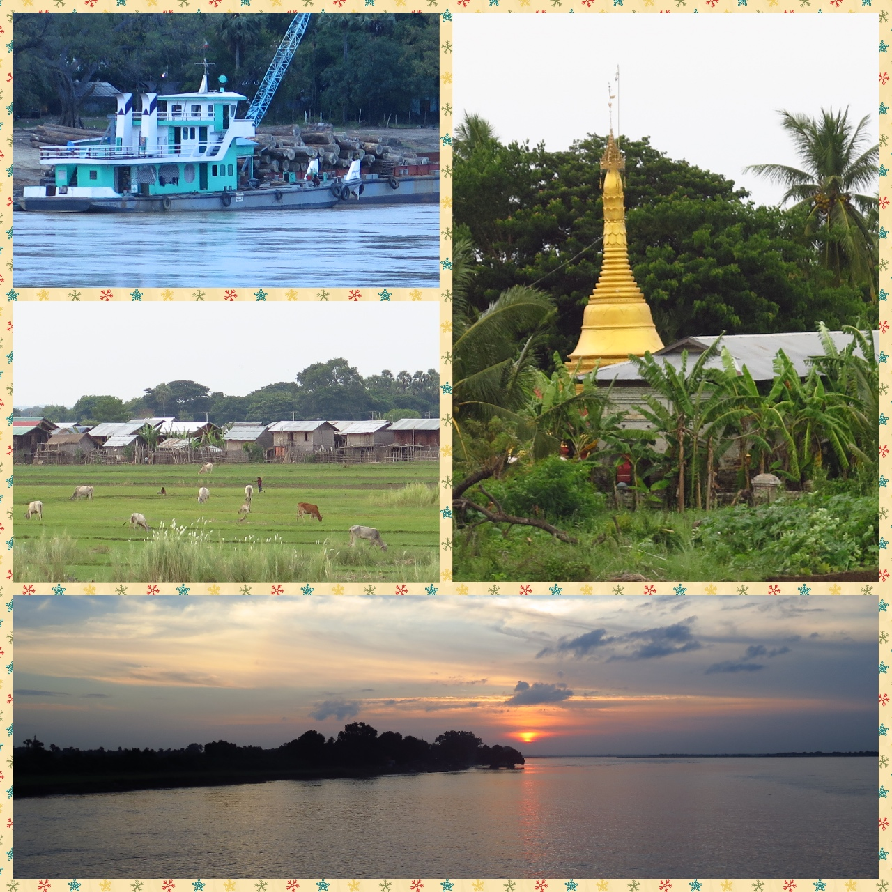 While on the cruise from Innwa to Bagan, one is treated to views of life along the shores of the Irrawady. Every little village has its own humble Paya, Tugs carrying timber, Livestock and of course a glorious sunset view every single day.