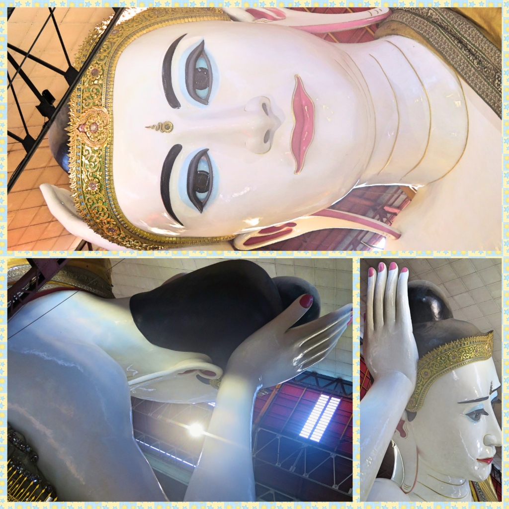 Close up images of the head and eyes of the reclining Buddha