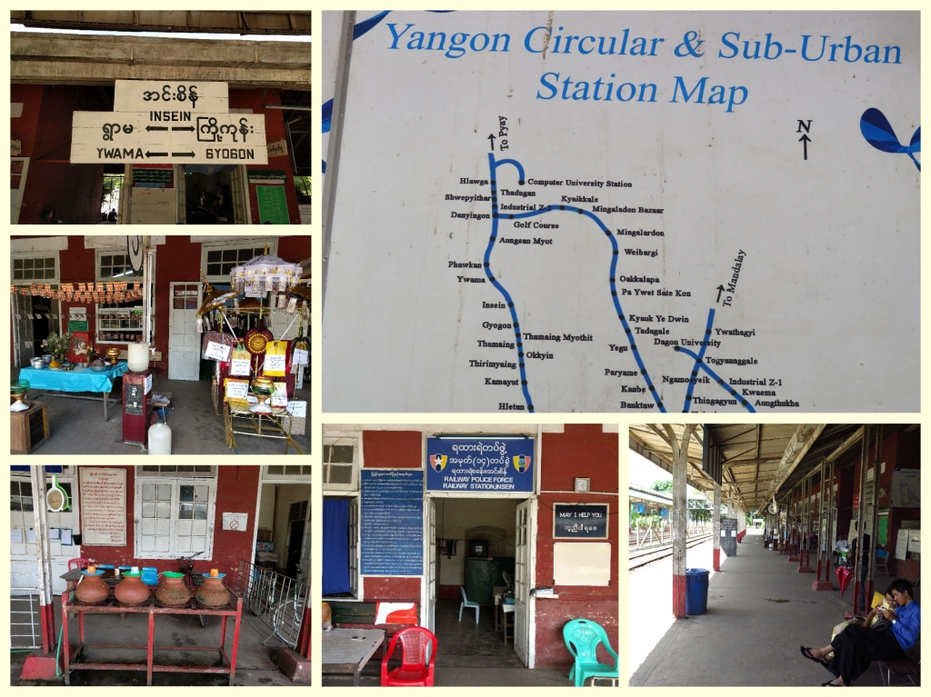 Insein station, mud pots serving water, clean platforms, Buddhist prayer stall and the station masters' office