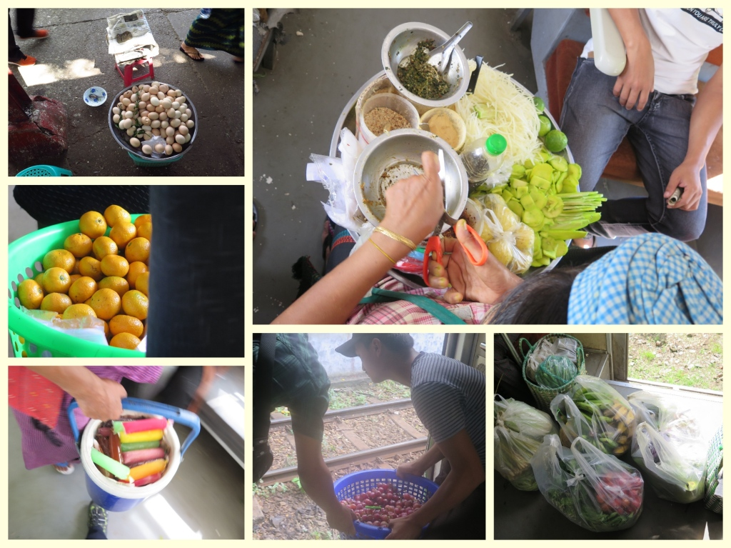 Quail Eggs, Mandarin oranges, Green Mango and Papaya salad, Ice Popsicles, Australian grapes and vegetables. One could almost finish their daily fresh produce shopping on the train