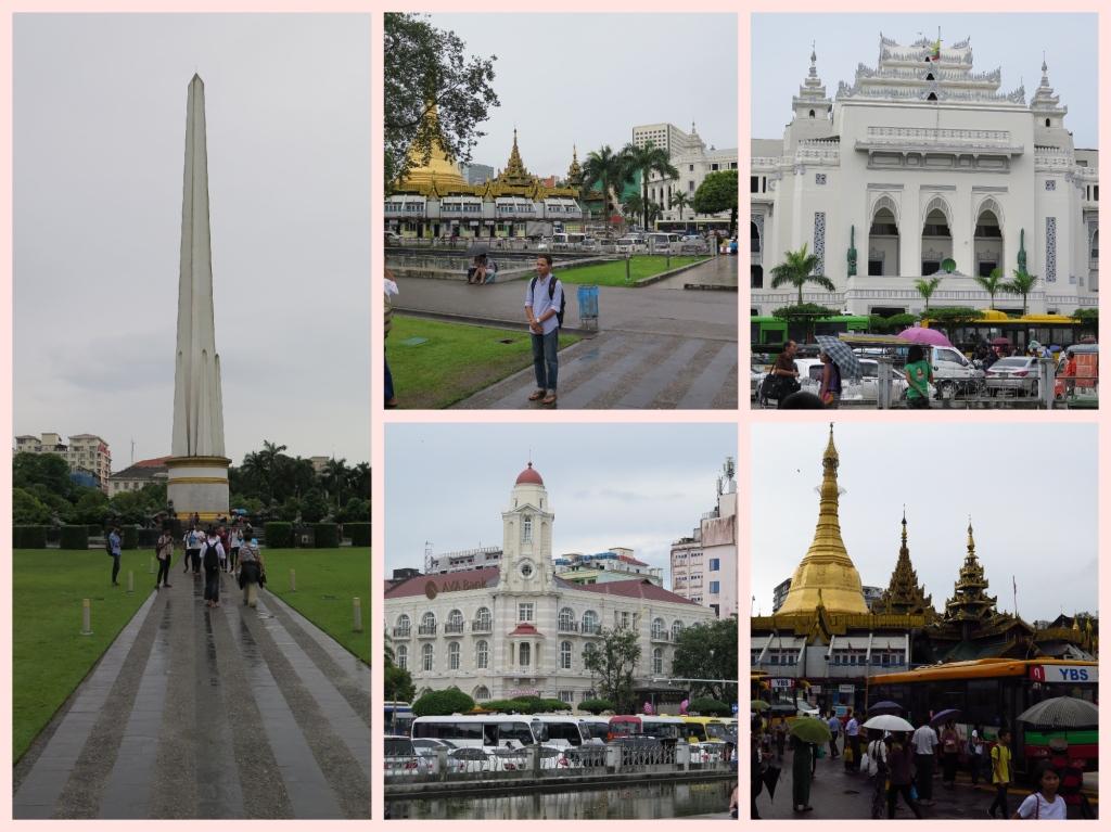 The Obelisk at Maha Bandula park, Sule Pagoda and the City Hall building