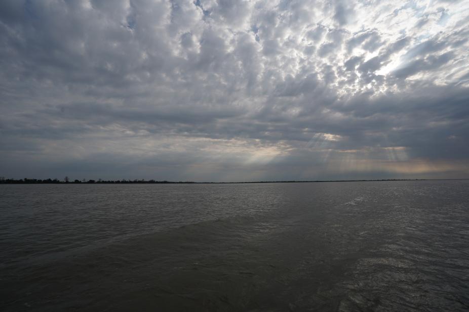 Twilight over the Brahmaputra as we leave Majuli Island to Nemati Ghat