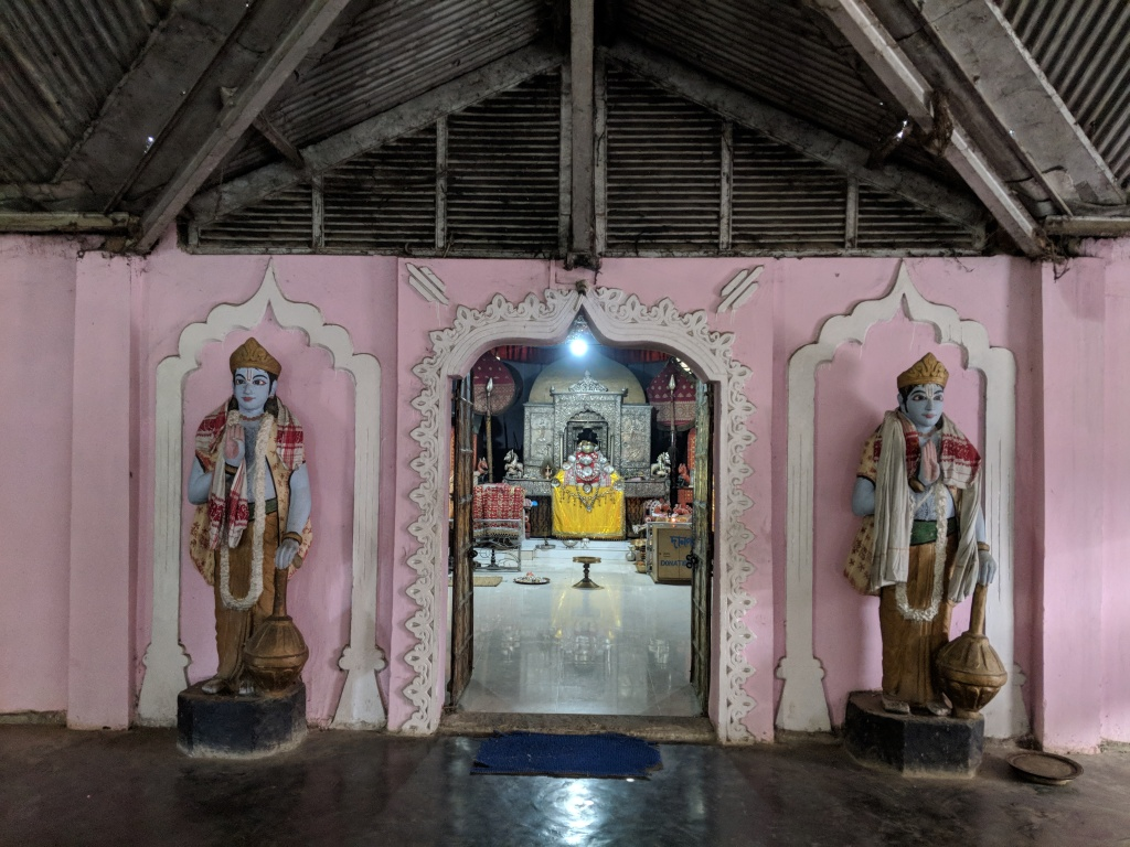 Jaya and Vijaya Guarding the entrance to the shrine of Krishna at the Auniati Satra